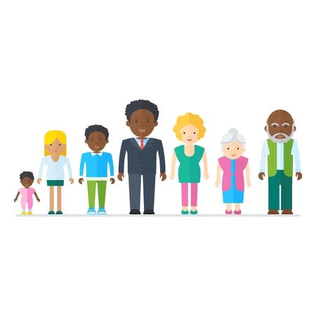 混合黒家族。多民族の人々。フラット ベクトル漫画イラスト。オブジェクトを白い背景に分離します。