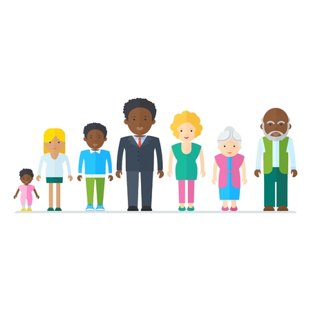 Mixed black family. Multicultural ethnic people. Flat vector cartoon illustration. Objects isolated on a white background. Ilustrace