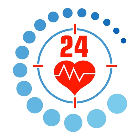 Medical around the clock icon. Flat vector cartoon illustration. Objects isolated on a white background.