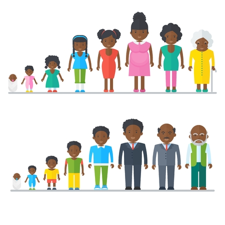 Dynasty Black family. Flat vector cartoon illustration. Objects isolated on a white background.