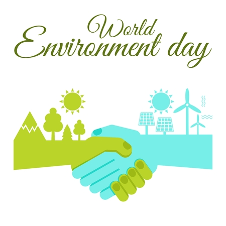 World Environment Day poster. Green energy concept. Save environment, taking care of nature. Flat vector cartoon illustration. Objects isolated on a white background. Illustration
