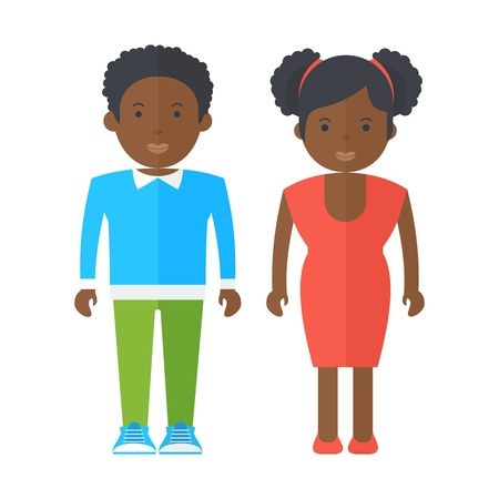 Black people adolescents. Flat vector cartoon illustration. Objects isolated on a white background.
