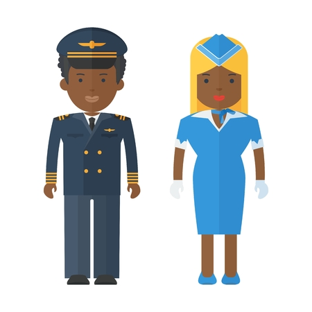 Black people pilot and stewardess in uniform. Characters on theme of civil aviation, aircraft and airport maintenance, service. Objects isolated on white background. Flat cartoon vector illustration. Illustration