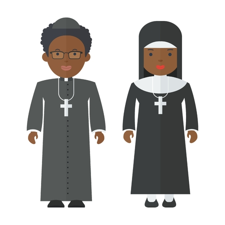 Black people catholic priest and nun. Objects isolated on white background. Flat cartoon vector illustration. Иллюстрация