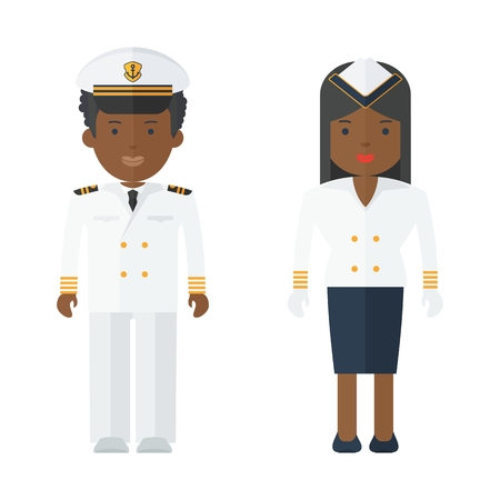 Black people captain of ship in white suit. Stewardess cruise liner, navy. Staff of military cruiser or cruise liner in uniform. Flat vector cartoon illustration. Objects isolated on white background.