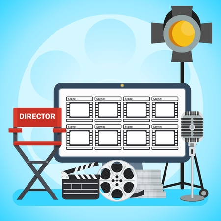 director chair: Video production poster. Computer and Storyboard, director chair and film. Flat vector cartoon illustration. Objects isolated on a white background.