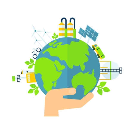 Earth in hand. Solar energy, wind power. Green world concept. Image for Earth Day, World Environment Day. Concept of ecological design. Flat icons isolated vector illustration.