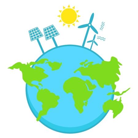Solar energy, wind power. Clear blue air. Ilustrace
