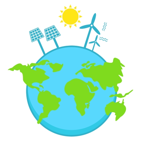Solar energy, wind power. Clear blue air. Illustration