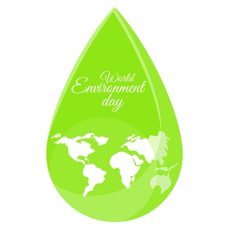 Planet in drop. World map in water drop. Flat vector cartoon illustration. Objects isolated on a white background.World Environment Day poster.