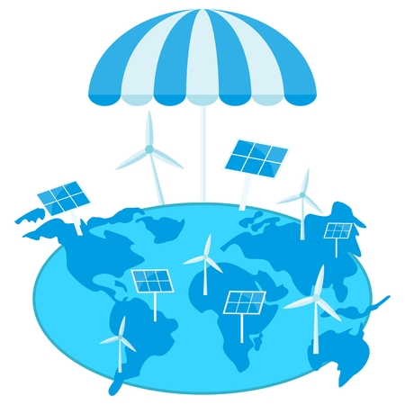 Solar energy, wind power. Earth under umbrella. Clear blue air. Image for Earth Day, World Environment Day. Concept of ecological design. Flat icons isolated illustration. Illustration