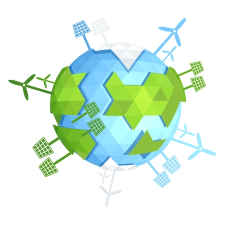 water turbine: Triangle blue planet. Solar energy, wind power. Image for Earth Day, World Environment Day. Concept of ecological design. Flat icons isolated vector illustration.