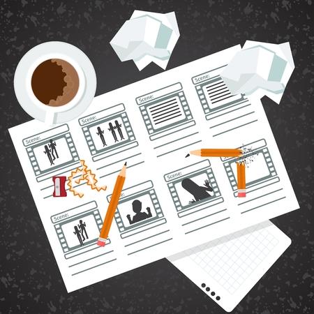 プロセス イメージを絵コンテ。フラット ベクトル漫画イラスト。オブジェクトを白い背景に分離します。