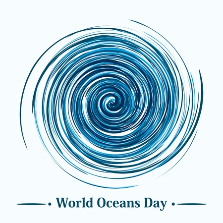 Swirl world oceans day concept poster and logo. Flat vector cartoon illustration. Objects isolated on a white background.