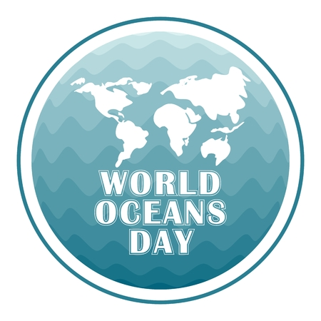 World oceans day concept poster and logo. Flat vector cartoon illustration. Objects isolated on a white background.
