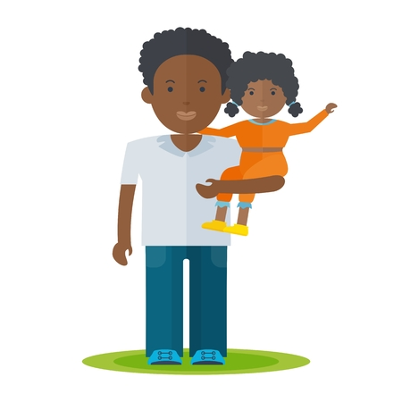 African father and little baby girl in his hands. Dad and baby flat vector cartoon illustration.