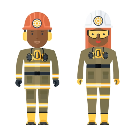 the miners: Black people Miners woman and a man in working clothes. Characters for the image profession in work wear and uniforms. Objects isolated on white background. Flat cartoon vector illustration.