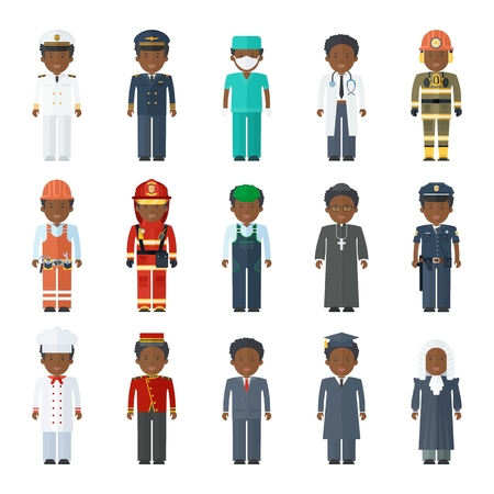 Multicultural ethnic people man professional. Flat vector cartoon illustration. Objects isolated on a white background.
