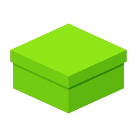 Big green box. Packaging for gifts, parcels, various goods. Flat vector cartoon illustration. Illustration