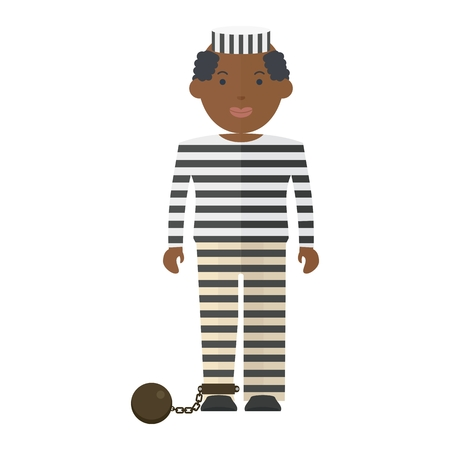 Prisoner in uniform. Flat vector cartoon illustration. Objects isolated on a white background. Illustration