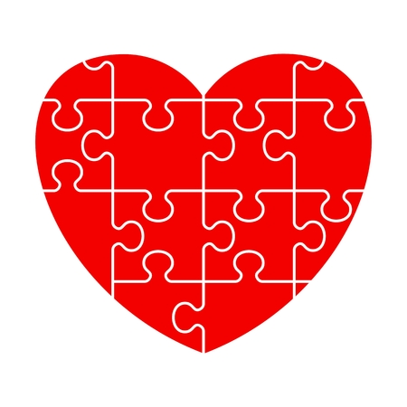 heart puzzle: Puzzle heart icon. Flat vector cartoon illustration. Objects isolated on a white background.