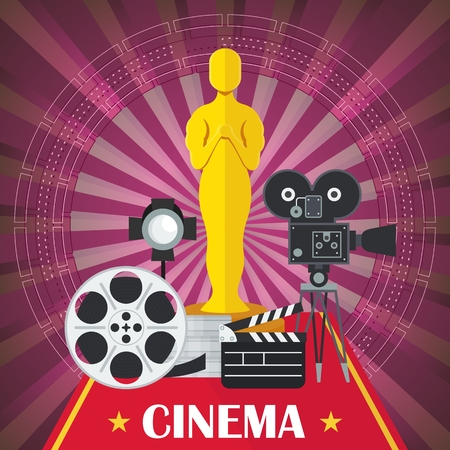 Main award of film academy, film and chamber. Template film poster for movie theater. Cinema concept. Flat vector cartoon illustration. Objects isolated on a white background.
