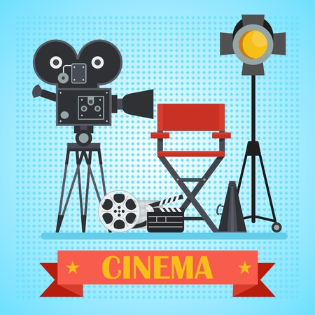 Director chair and searchlight, film, clapper. Template film poster for movie theater. Cinema concept. Flat vector cartoon illustration. Objects isolated on a white background.
