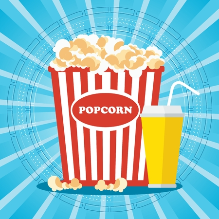 Popcorn and drink. Template film poster for movie theater. Cinema concept. Flat vector cartoon illustration. Objects isolated on a white background.