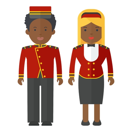 Vector african american porter and hostesses in uniform. Characters on profession, hotel, staff, work wear, protective clothing. Objects isolated on white background. Flat cartoon vector illustration.