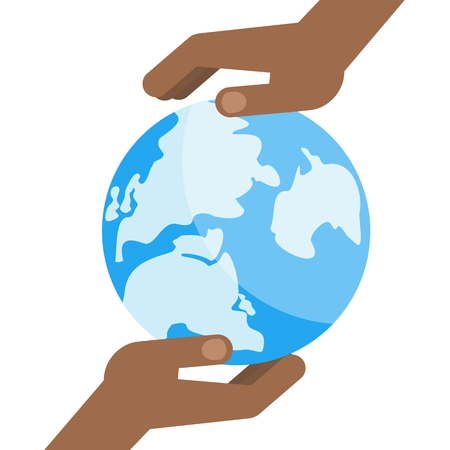 hand holding globe: Two black hands hold a blue planet earth. Symbol of respect for nature and environment. Flat vector cartoon illustration. Objects isolated on a white background.