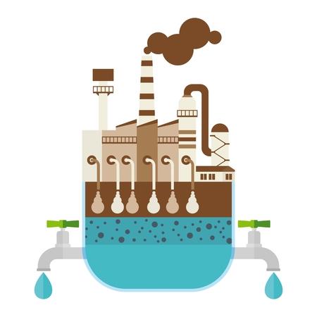 Filtro, sistema di filtrazione dell'acqua e depuratore. Risparmia acqua potabile pulita. Trattamento delle acque. Illustrazione di cartone animato vettoriale piana. Oggetti isolati su uno sfondo bianco.
