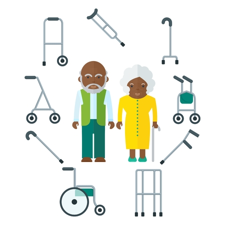 Elderly black people couple and equipment for moving and walking. African american. Flat vector cartoon illustration. Objects isolated on a white background.