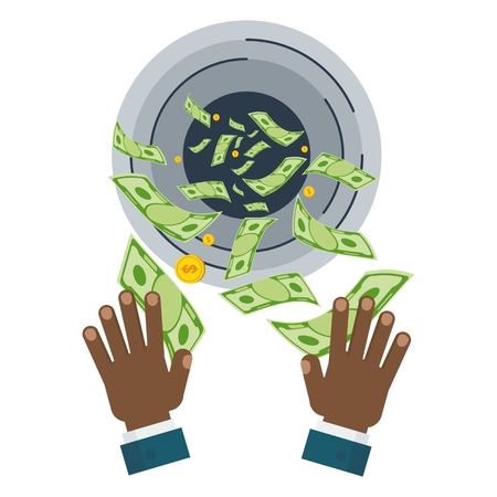 Waste of money concept. Dollar bills flying out of black hands. Concept of a careless waste of money bankruptcy, waste. Flat vector cartoon money illustration. Objects isolated on a white background. Illustration