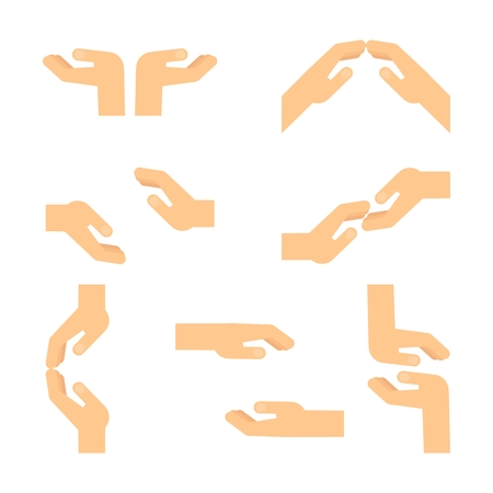 mutual help: Set of gestures of european hands express mutual assistance, mutual understanding, support and help, tenderness. Flat vector cartoon hand illustration. Objects isolated on a white background. Illustration