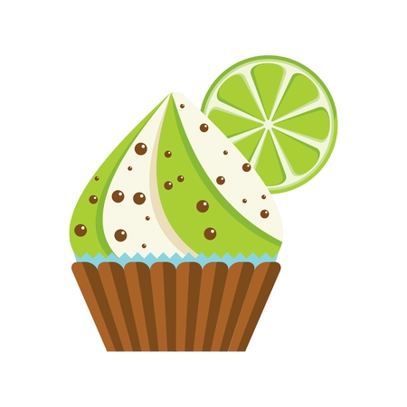 cupcakes isolated: cake lime chocolate Illustration