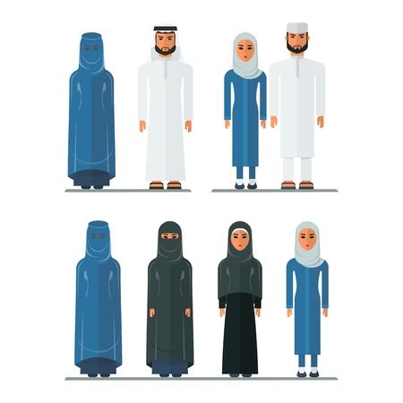 Set di uomini arabi e donne arabe in abiti tradizionali. Vestiti musulmani. Illustrazione di fumetto vettoriale piatto. Oggetti isolati su uno sfondo bianco.