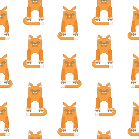 foxy: Seamless pattern with redhead, malicious and dissatisfied fat cat. Flat vector cartoon illustration. Objects isolated on a white background.
