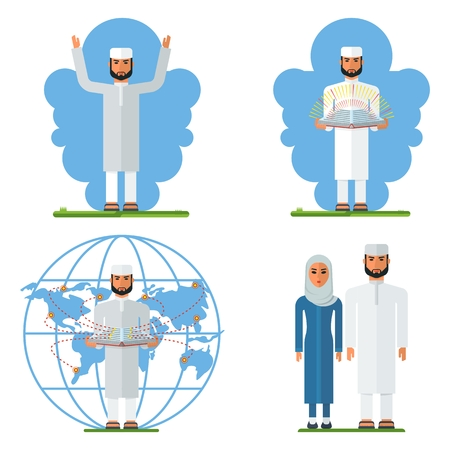 dogma: Set of Arab Muslim religious man in traditional clotthes. Muslim clothing. Flat vector cartoon illustration. Objects isolated on a white background.