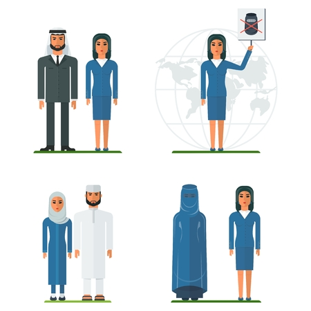 Set of arab men and arab women in traditional and modern business clothes. Muslim clothing. Flat vector cartoon illustration. Illustration