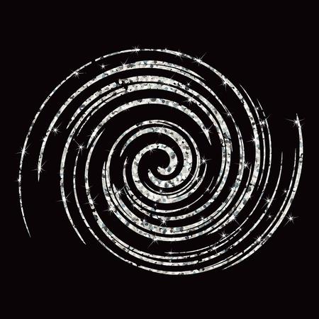 Zilveren werveling spiraalvormige cirkelgolf. Platte vector cartoon illustratie. Objecten geïsoleerd op zwarte achtergrond.