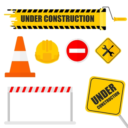 Under construction set. Icon for website under construction sign. 404 page, work in progress.