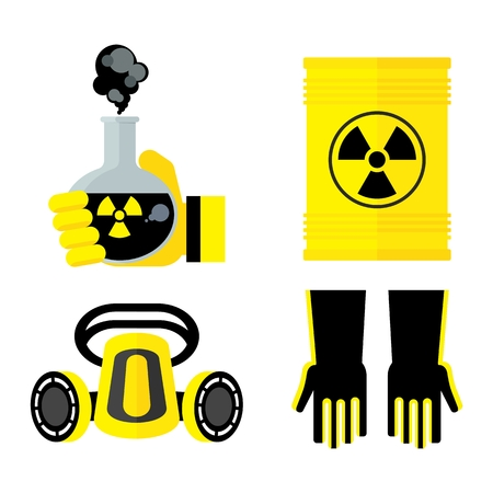 Set of toxic objects. Flat vector cartoon illustration. Objects isolated on a white background.