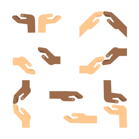 Set of gestures of African American hands express mutual assistance, mutual understanding, support and help, tenderness. Illustration