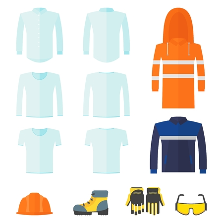 Conjunto de ropa protectora de trabajo especial para trabajadores en fábricas, fábricas y servicio. Ilustración de dibujos animados de vector plano. Objetos aislados en un fondo blanco.