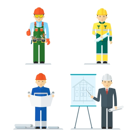 Engineer character. Construction, architect and engineering drawing for civil industrial draft. Flat vector cartoon illustration. Objects isolated on a white background.