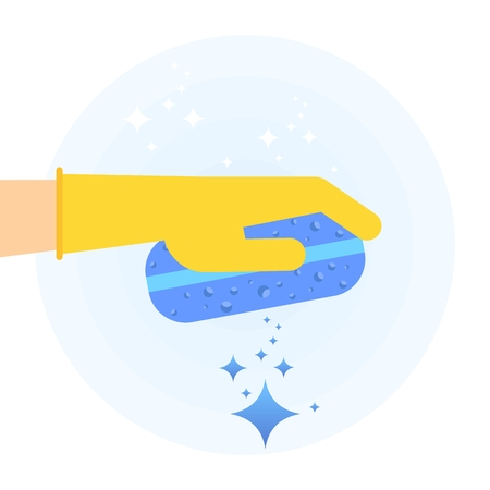 Hand in rubber glove holding sponge for clean, fresh, hygiene and shine in house. Flat vector cartoon illustration. Objects isolated on a white background.