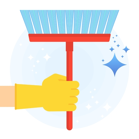 Hand in rubber glove holding floor brush for clean, fresh, hygiene and shine in house. Flat vector cartoon illustration. Objects isolated on a white background. Illustration