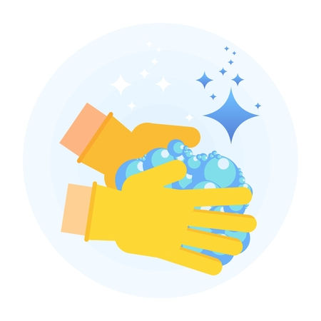 Hand in rubber glove holding cleansing soap foam for clean, fresh, hygiene and shine in house. Flat vector cartoon illustration. Objects isolated on a white background.