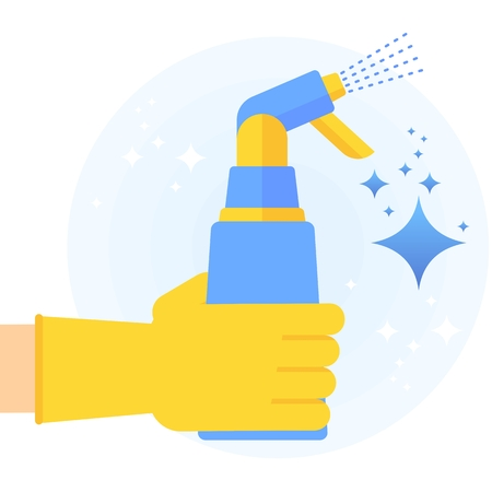 Hand in rubber glove holding bottle of disinfectant for clean, fresh, hygiene and shine in house. Flat vector cartoon illustration. Objects isolated on a white background.