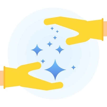 Hands in rubber glove holding stars of brilliance and radiance of clean and freshness in the house. Flat vector cartoon illustration. Objects isolated on a white background.